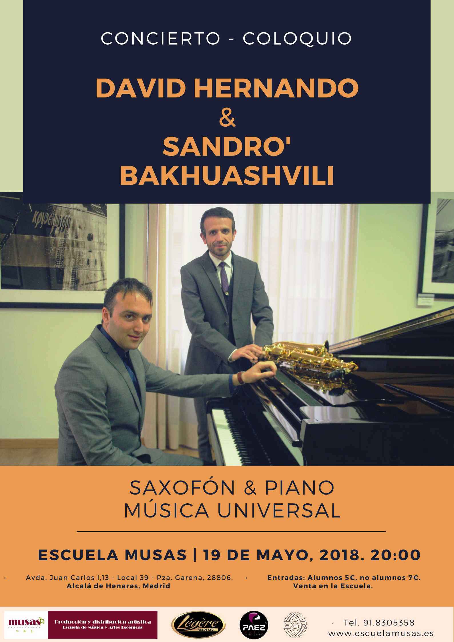 Cartel - Escuela Musas - Sandro David - 19 de mayo